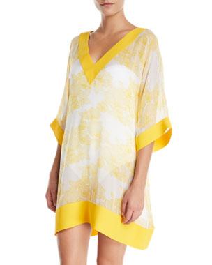 5bc0a0ab66455 Chiara Boni La Petite Robe Helly Floral-Print Silk Coverup Tunic