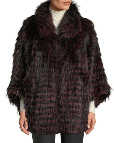 Belle Fare Fox Fur Oversized Cape Coat
