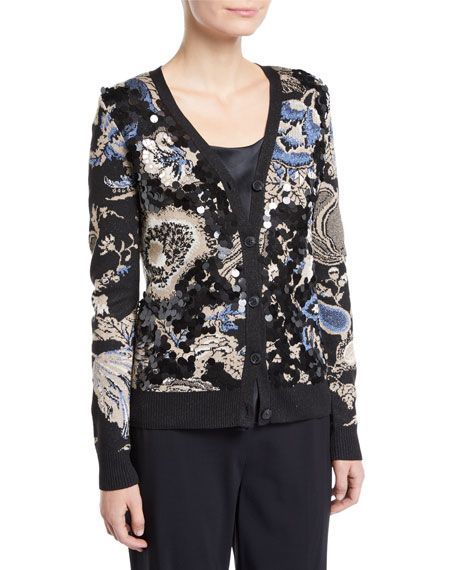 Agnes Embellished Metallic Cardigan in Black