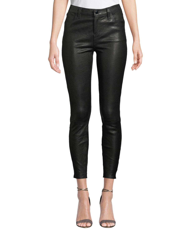ba5f54dac84c5 J Brand Alana High-Rise Crop Leather Skinny Pants