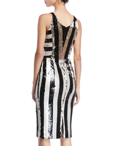 Dress The Population Margo Sequin Striped V-Neck Dress  c59031d4a