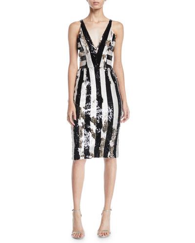 Margo Sequin Striped V-Neck Dress