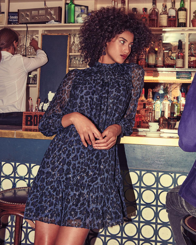 41437ec3f2c0 kate spade new york leopard clip dot long-sleeve mini dress   Neiman Marcus