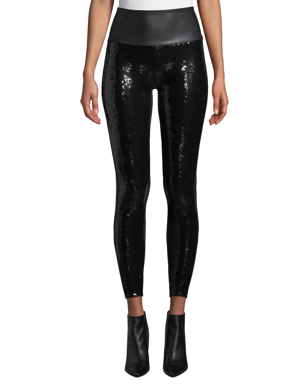14b934a38cabc Spanx Faux-Leather Sequin High-Rise Leggings | Neiman Marcus