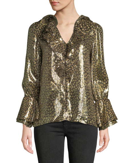 Alice + Olivia Elliott Long-Sleeve V-Neck Metallic Blouse w/ Ruffled Trim