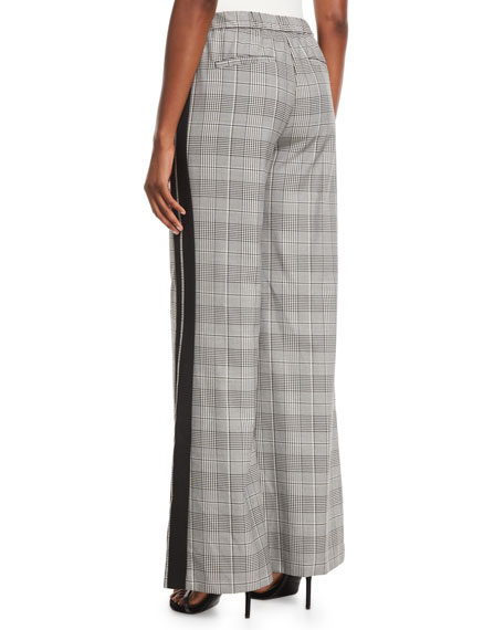 Alice + Olivia Bo Side-Stripe Wide-Leg Plaid Pull-On Pants