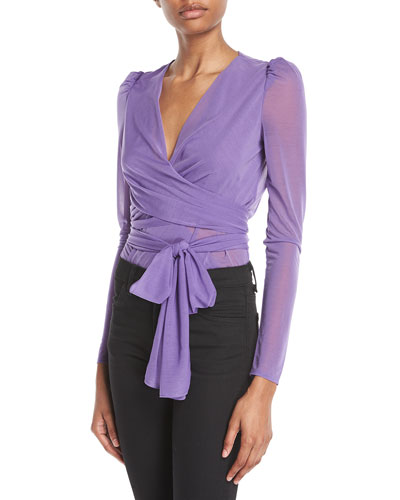 Long-Sleeve Sheer Drape Jersey Wrap Bodysuit