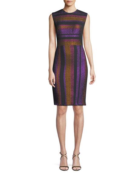 Diane von Furstenberg Metallic-Stripe Sleeveless Sheath Dress