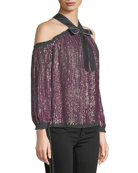 Needle & Thread Kaleidoscope Sequin Velvet Cold-Shoulder Top