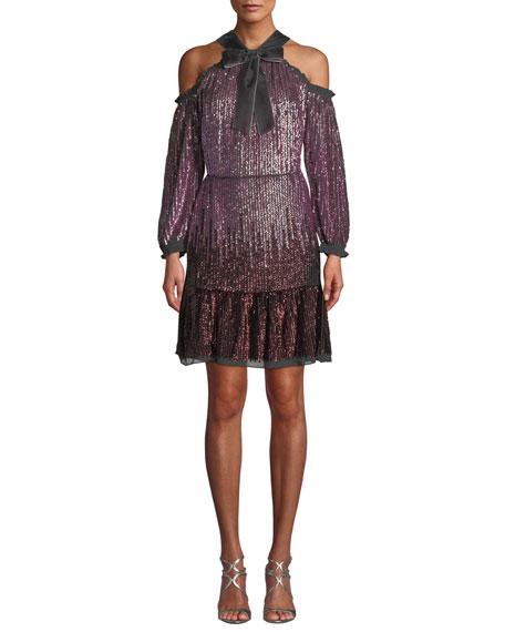 Needle & Thread Kaleidoscope Sequin Cold-Shoulder Short Dress