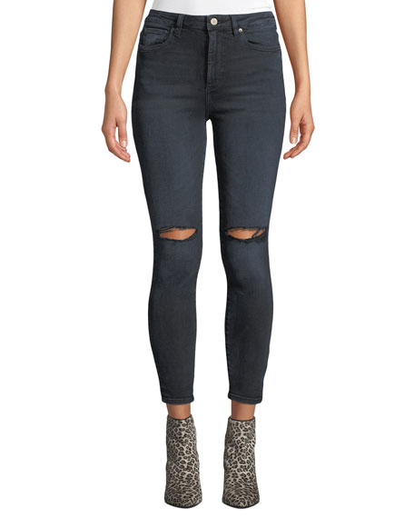 DL1961 Premium Denim Chrissy Ultra High-Rise Distressed Skinny Jeans
