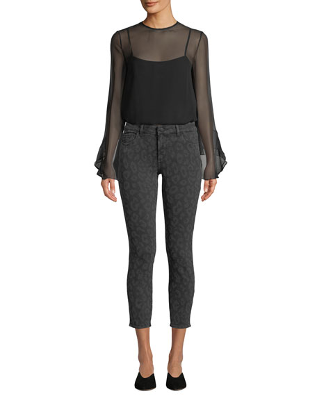 DL1961 Premium Denim Florence Cropped Animal-Print Skinny Jeans