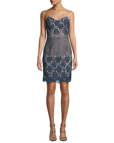 Dress The Population Belle Floral Dot Lace Mini