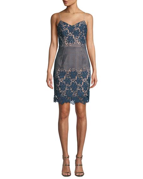 Dress The Population BELLE FLORAL & DOT LACE MINI DRESS
