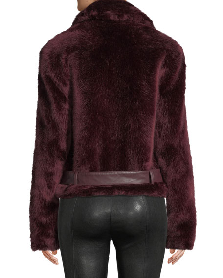 Alexis Shrua Zip-Front Belted Faux-Fur Jacket