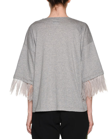 Image 2 of 2: No. 21 Feather-Sleeve Oversized Crewneck Tee