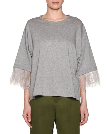 Image 1 of 2: No. 21 Feather-Sleeve Oversized Crewneck Tee