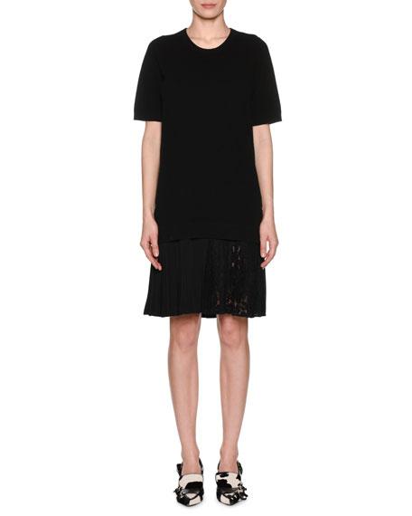 No. 21 Pleated Lace Hem Short-Sleeve Crewneck Wool Dress