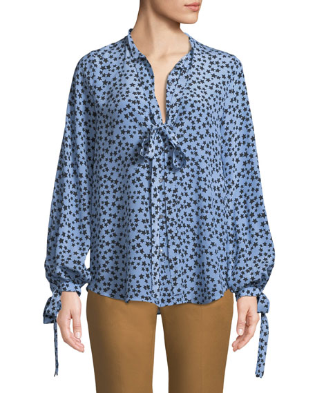 No. 21 Star-Print Tie-Neck Silk Button-Front Shirt