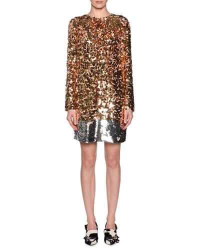 Sequin Long-Sleeve Short Dress