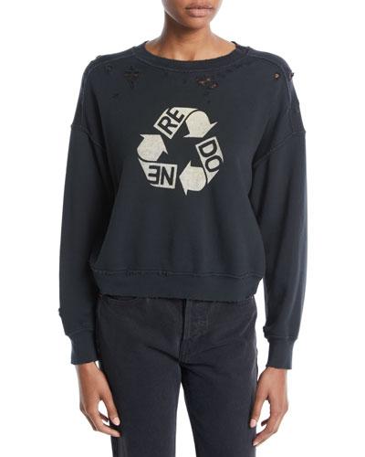Recycle Distressed Crewneck Cotton Sweatshirt