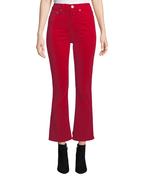 RE/DONE Mid-Rise Cropped Velvet Kick-Flare Pants