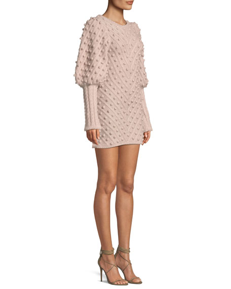 Fleeting Bauble Blouson-Sleeve Body-Con Dress