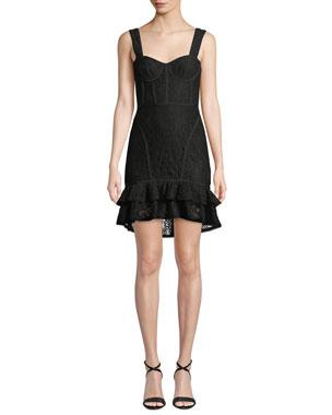 fc4f08ad Jonathan Simkhai Lace Ruffle-Hem Bustier Dress