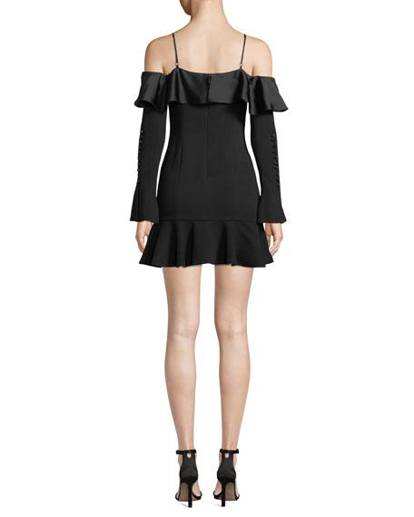 Jonathan Simkhai Crepe Sateen Cold-Shoulder Flounce Short Dress