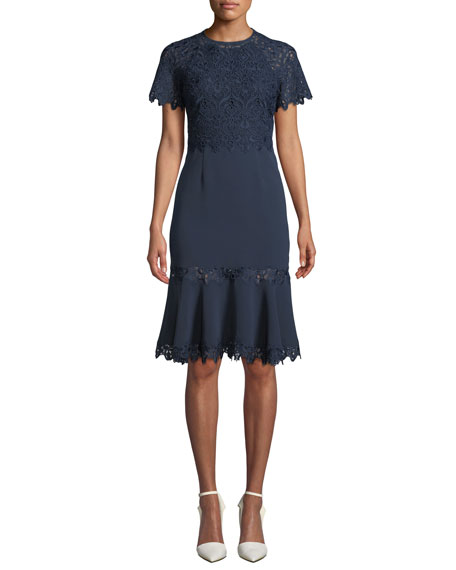 Jonathan Simkhai Embroidered Flounce Short-Sleeve Cocktail Dress
