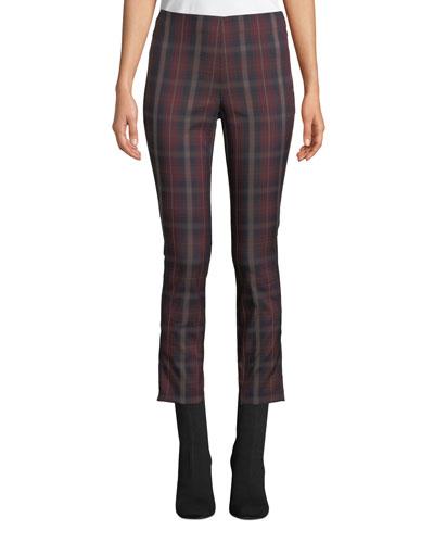 Simone Cropped Skinny Plaid Trousers