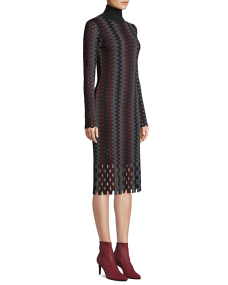 Turtleneck Long-Sleeve Knit Intarsia Midi Dress
