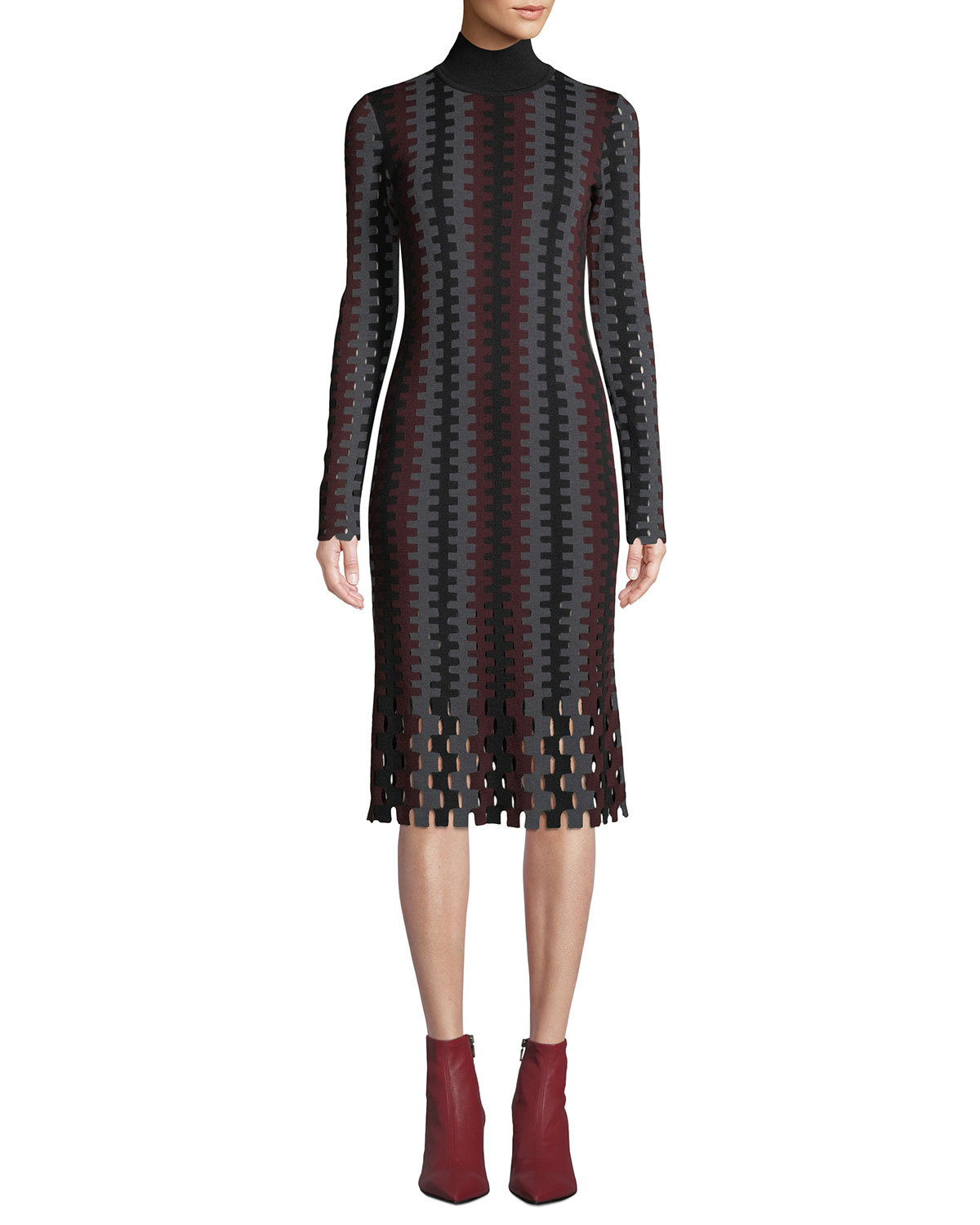 dd6bac1b97b7 Diane von FurstenbergTurtleneck Long-Sleeve Knit Intarsia Midi Dress