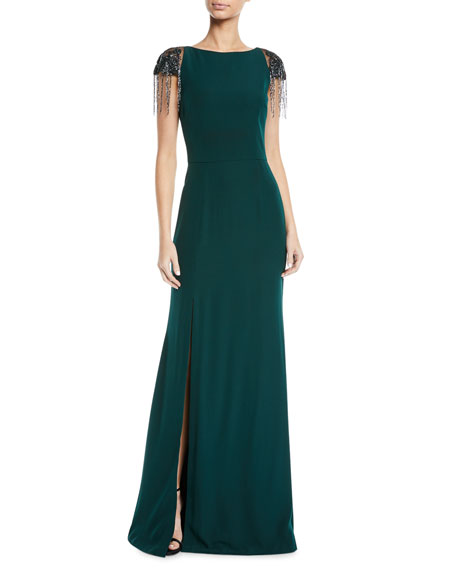 Crepe Gown w/ Beaded Shoulders