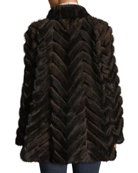 Belle Fare Swing-Cut Chevron Mink & Rabbit Fur Coat