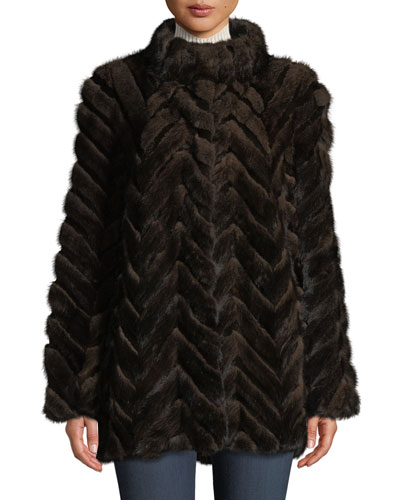 Swing-Cut Chevron Mink & Rabbit Fur Coat