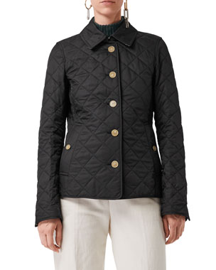 320e72359cc Burberry Frankby Diamond Quilted Button-Front Jacket