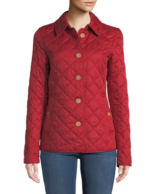 e15e9cfc3e Burberry Frankby Button-Front Quilted Jacket, Military Red