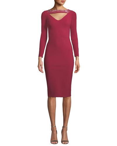 Cayetana V-Neck Cutout & Embellished Dress