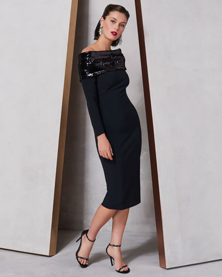 Chiara Boni La Petite Robe Lipikette Sparkle Off-the-Shoulder Dress