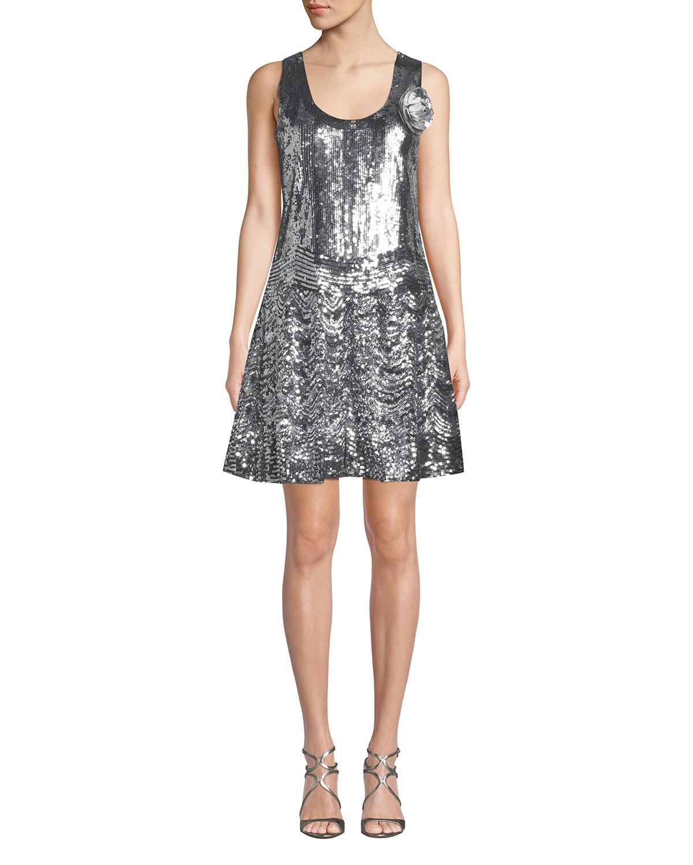 abbb64030eb73b MICHAEL Michael Kors Sequined Scoop-Neck Sleeveless Slip Dress ...