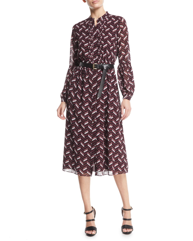 f72ab9760d3 MICHAEL Michael Kors Chevron-Print Georgette Midi Dress with Belt ...