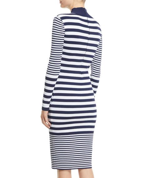 MICHAEL Michael Kors Mock-Neck Striped Bodycon Dress