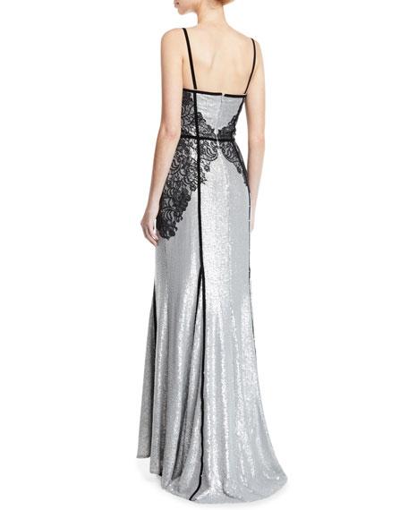 Tadashi Shoji Sequin & Lace Sleeveless Gown