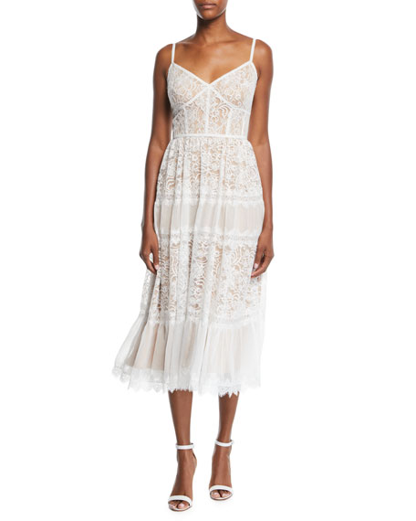 Image 1 of 2: Lace Midi Dress w/ Pleated Skirt