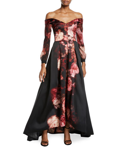 Off-the-Shoulder Long Rose-Print Gown