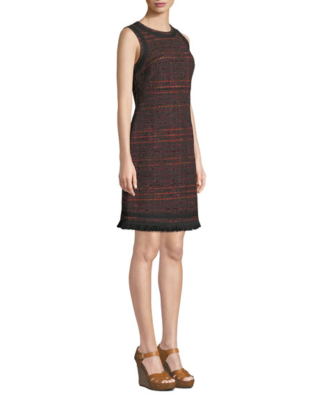 kate spade new york multi-tweed fringe dress