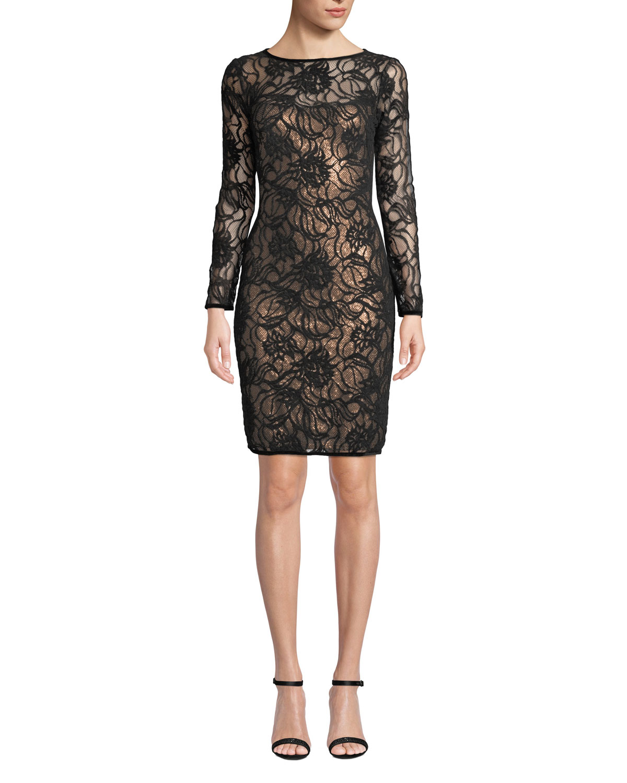 9422d729d6f2 Tadashi Shoji Sequin & Lace Long-Sleeve Dress   Neiman Marcus