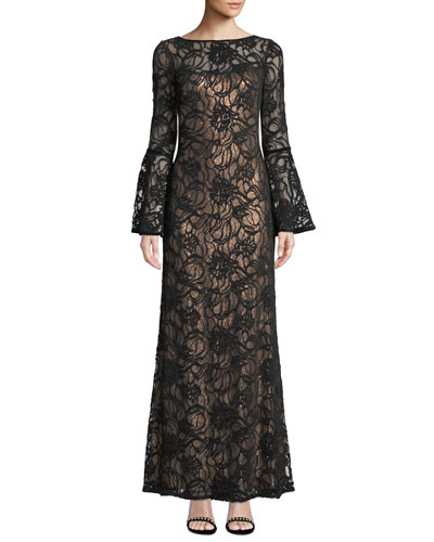 a0ca338c Bell-Sleeve Velvet & Sheer Lace Gown