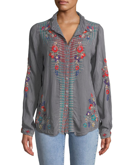 Johnny Was Plus Size Long-Sleeve Plaid-Embroidered Button-Front